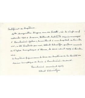 SCHWEITZER (Albert) Pièce A.S. G 5470
