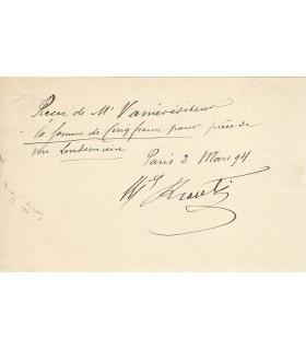 VERLAINE. KRANTZ (Eugénie) Reçu signé par Mlle Krantz (Réf. G 1944)