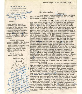 BRASSAÏ. Photographe. Lettre autographe, 22 juillet 1970 (Réf. G 5380).