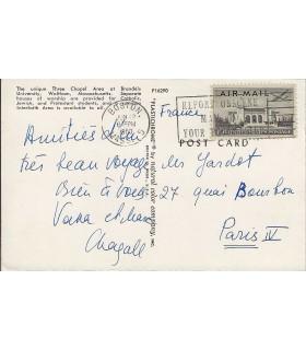 """CHAGALL Marc. Peintre. Carte autographe signée   (des U.S.A.) : """"Vava et Marc Chagall"""" (Réf. G 5025)"""