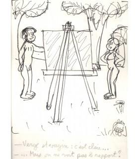 EFFEL Jean. Illustrateur de presse, dessinateur français.Dessin original signé pour la série Adam et Eve (Réf. G 4461/E13)