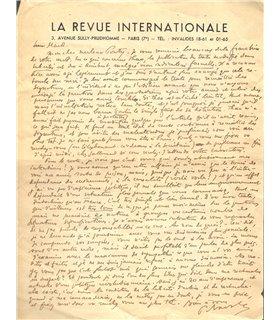 NAVILLE Pierre, règle l'action menée en faveur de la libération de Tran Duc Thao