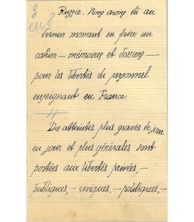 PEGUY  Charles, manuscrit autographe signé, pour les Cahiers de la Quinzaine.