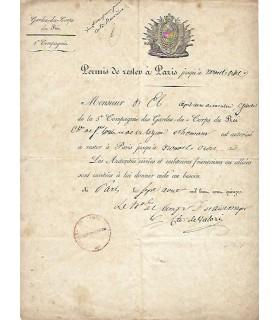 PERMIS DE RESTER A PARIS P.I. et signée Comte de Valori.