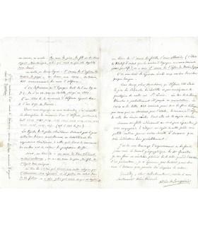 PREVOST DE LONGPERIER Adrien, archéologue. Lettre autographe et billet autographe (G 4689)