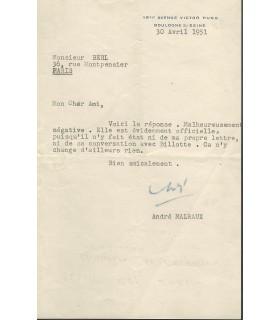 MALRAUX à Emmanuel Berl, 30 avril 1951