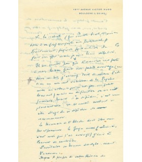 MALRAUX André, écrivain, homme politique. Lettre autographe (G 3858)