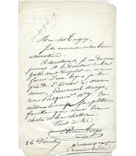ARAGO Etienne, directeur du Vaudeville.Lettre autographe (Réf. G 2919)