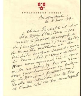 BRASSAÏ. Photographe. Lettre autographe, 8 novembre 1977 (Réf. G 5382)