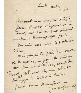 FLAUBERT (Gustave). Ecrivain. Lettre inédite au conseiller d'état Martial Eugène Bataille, 1876 (Réf. G 5327).