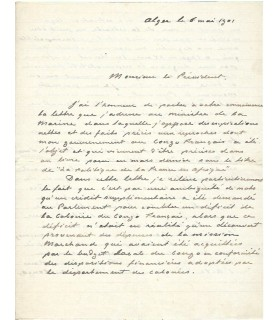 SAVORGNAN DE BRAZZA (Pierre). Explorateur italien. Lettre autographe (G 5463)