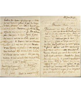 MURGER, Belle lettre de jeunesse au dessinateur Léon Noël