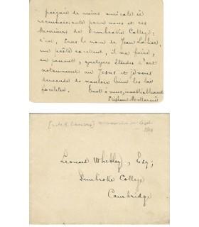 Mallarmé (Stéphane). Poète. Carte à Leonard Whibley (Réf. G 5317)