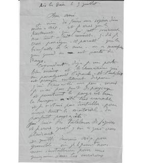 LEBASQUE Henri, Peintre. Lettre autographe (G 3353)
