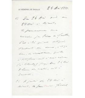 GAULLE Charles de. Général. Président de la République française. Pièce autographe signée (G 3919)
