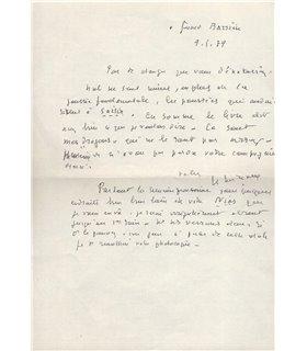 MICHAUX Henri au critique d'art Gérard Barrière