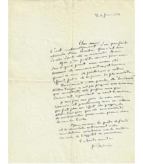 BAUDRIER Yves. Compositeur. créateur de l'Institut cinématographique. Lettre autographe (Réf. G 79)