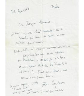 COCTEAU Jean, écrivain, poète, cinéaste, peintre. Lettre autographe  (1963) (Réf. G 4311)
