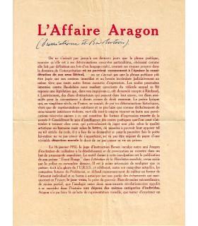 """ARAGON. Tract imprimé intitulé """"L'Affaire Aragon"""" (G 4920)"""