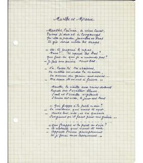 NOEL MARIE, poétesse. Poème autographe (BL 27284)