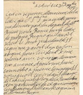 BOUILLON CARDINAL de. Prélat. Neveu de Turenne. Lettre autographe, 20 septembre 1712 (Réf. G 5485)