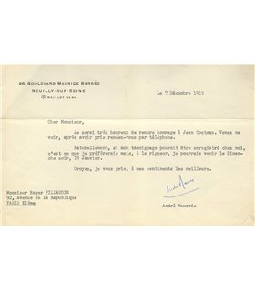 MAUROIS à Roger Pillaudin, hommage à Cocteau