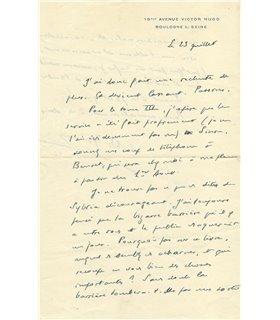 MALRAUX, belle lettre à Emmanuel Berl, 23 JUILLET (1952)