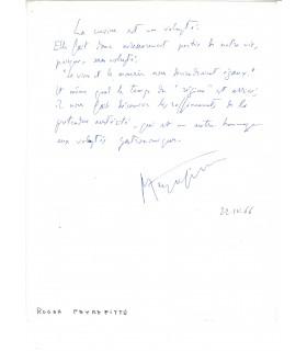 PEYREFITTE Roger, écrivain. Billet autographe (G 3262)