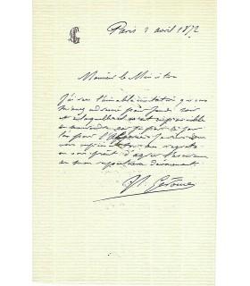 GEROME Jean-Léon, peintre, sculpteur. Lettre autographe (G 3007)