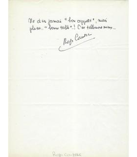 COUDERC Rogerc, journaliste sportif. Billet autographe (G 3245)