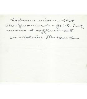 RENAUD Madeleine, comédienne. Billet autographe (G 3263)