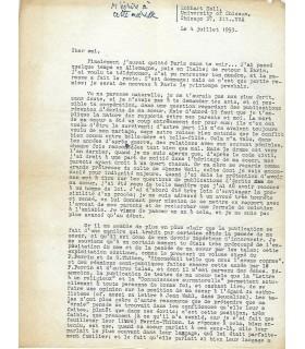 WEIL André, très belle lettre  au sujet de sa soeur la philosophe SIMONE WEIL