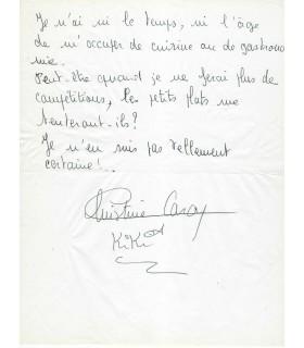 CARON Christine, nageuse française. Billet autographe (G 3294)