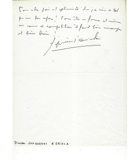 JONQUIERES D'ORIOLA Pierre, sportif. Billet autographe (G 3329)