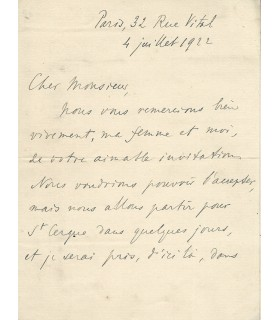 BERGSON. Philosophe. Lettre autographe, 1922  (G 3781)