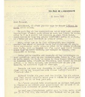 BERNSTEIN Henry, auteur dramatique. 21 mars 1931.