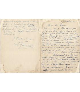 FARMAN Henri, aviateur et constructeur d'avions. Lettre autographe (G 986)