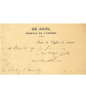 BARBEY D'AUREVILLY, reçu signé