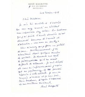 MAGRITTE René, peintre. Lettre autographe (G 5586)
