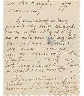 ALAIN-FOURNIER à Gustave Tronche, janvier 1910