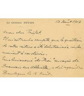 PETAIN Philippe. Militaire, homme d'Etat français. Carte autographe (Réf. G 4109)
