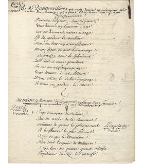 PIRON Alexis. 1689-1773. Poète et auteur dramatique. Manuscrit autographe (Réf. G 4513)