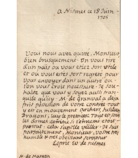 FLECHIER, évêque de Nîmes. 1632-1710. Grand orateur du XVIIe siècle. Lettre autographe (Réf. G 970)