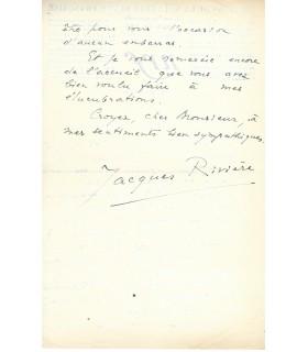 RIVIERE Jacques. Écrivain, directeur de la Nouvelle Revue Française. 2 lettres autographes (Réf. G 2825-2826)