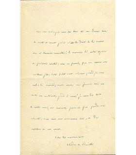 BANVILLE Théodore de. Chaleureuse lettre de remerciements