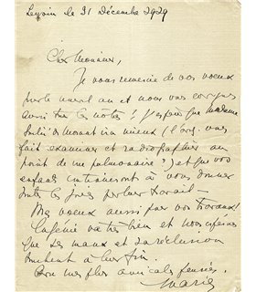 BONAPARTE MARIE, pionnière de la psychanalyse en France, 31 décembre 1929