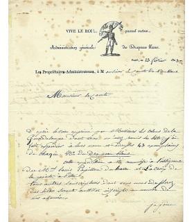 [DRAPEAU BLANC] MAISIERES, administrateur du journal. Lettre autographe (G 4610)