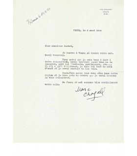 """CHAGALL Marc. Peintre, sculpteur, céramiste, lithographe et graveur. Lettre dactylographiée Signée """"Marc Chagall"""" (Réf. G 5031)"""