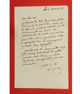 GRUN (Alphonse), juriste et journaliste. 2 lettres autographes (G 5059)