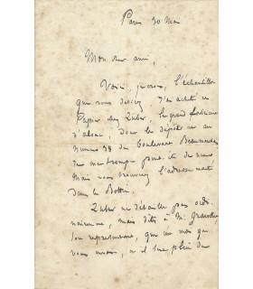 ADAM (Edmond), homme politique. Lettre autographe (G 5060)